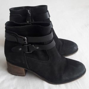 Franco Sarto Black Suede Booties Women's Size 9.5